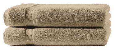 2 Badetücher beige 100x150 cm Set Baumwolle Frottee Badetuch groß XXL weich – Bild 1