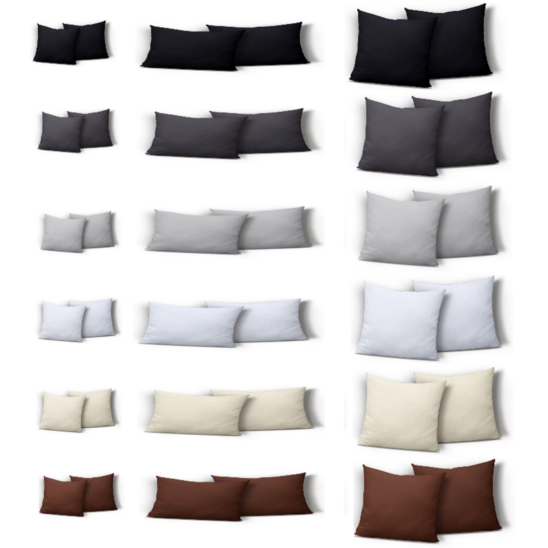 2er Pack Kissenbezug mit Reißverschluss Kissenhülle 100/% Baumwolle Kissen Hülle