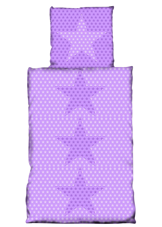 4 Teilige Bettwäsche 135x200 Cm Sterne Stars Lila Weiß Violett