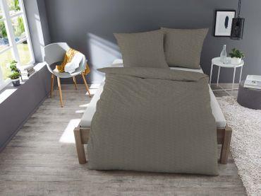 3 teilige Jersey Bettwäsche 200x200 cm braun meliert Melange Baumwolle – Bild 2