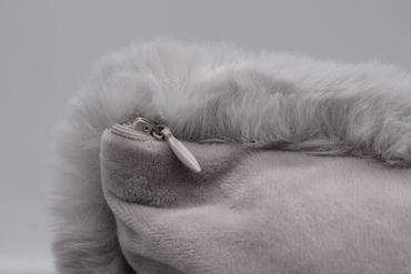 Hasenfell Kissen Imitat grau 40x40 cm Sofa Dekokissen Zierkissen Kunstfell – Bild 3