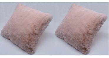 2er Pack Hasenfell Kissen Imitat rosa 40x40 cm Dekokissen Zierkissen Kunstfell – Bild 1