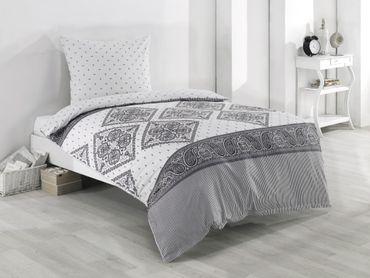 4 teilige Wende Bettwäsche 155x220 cm Paisley weiß grau Baumwolle Renforce – Bild 2
