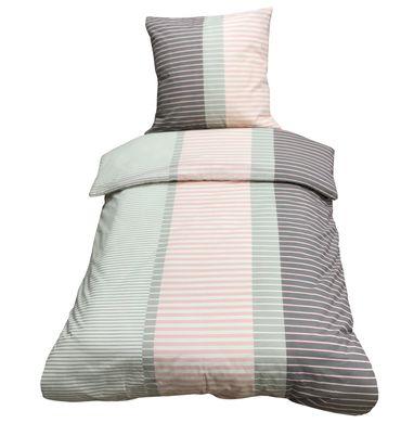 2 teilige Bettwäsche 155x220 cm rosa grau gestreift Baumwolle Renforce – Bild 1