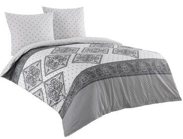 3 teilige Wende Bettwäsche 200x220 cm Paisley weiß grau Baumwolle Renforce – Bild 1