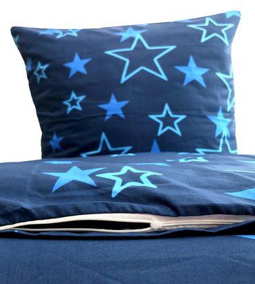 2 teilige Bettwäsche 135x200 cm Sterne Star blau dunkelblau Mikrofaser – Bild 3