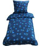 2 teilige Bettwäsche 135x200 cm Sterne Star blau dunkelblau Mikrofaser 001