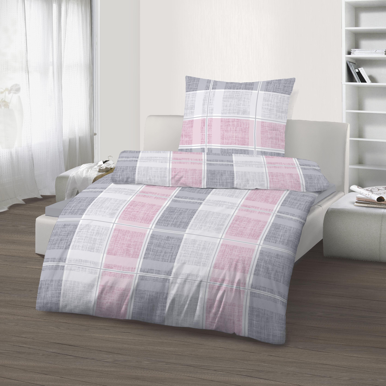 2 Teilige Bettwäsche 135 X 200 Cm Streifen Rosa Grau Baumwolle B