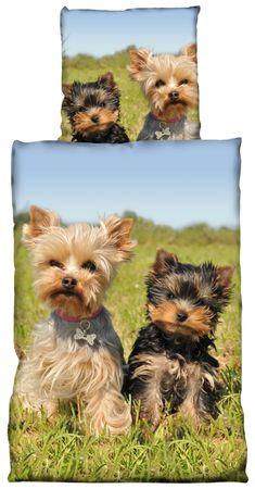 2 teilige Bettwäsche 135x200 cm Kleine Hunde auf der Wiese grün blau Mikrofaser  – Bild 1