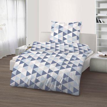 2 teilige Bettwäsche 135 x 200 cm Geometrisch blau Mako Satin Baumwolle B-Ware – Bild 1