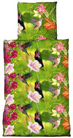 2 teilig Bettwäsche 135x200 cm Blumen Vögel grün pink rosa Renforce Baumwolle – Bild 1