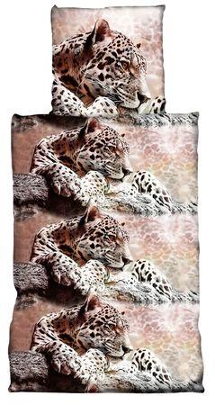 2 teilig Bettwäsche 135x200 cm Leopard Safari Afrika braun Cretonne Baumwolle – Bild 1