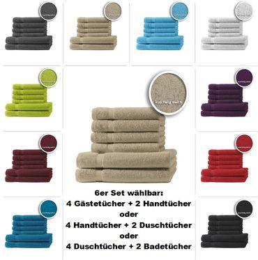 4er/6er Set Gästetücher Handtücher Duschtücher Badetücher Frottee 100% Baumwolle – Bild 19