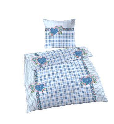 Bettwäsche 155x200 cm kariert blau weiß Übergröße Fein Biber Baumwolle B-Ware – Bild 1