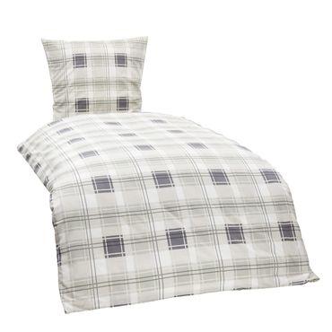4 teilige Bettwäsche 155x220 cm Kariert weiß grau beige Baumwolle 2 Garnituren – Bild 1