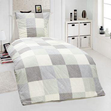 2 teilige Bettwäsche 135 x 200 cm Kariert weiß anthrazit grau Baumwolle Garnitur – Bild 2