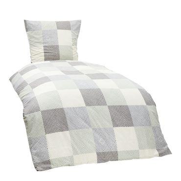 2 teilige Bettwäsche 155 x 220 cm Kariert weiß grau blau Baumwolle Garnitur – Bild 1