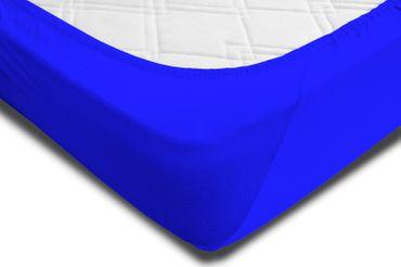 2 Spannbettlaken 180x200 - 200x220cm royalblau Elasthan Boxspringbett Wasserbett – Bild 4