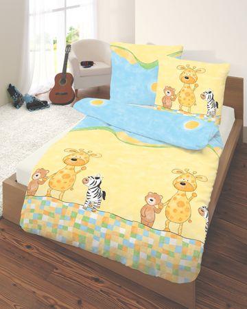 2 teilige Kinder Bettwäsche 135 x 200 cm Tiere gelb himmelblau Baumwolle B-Ware – Bild 2