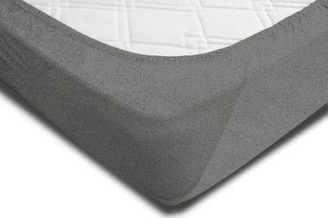 Spannbettlaken FROTTEE 90x200 cm - 100x200 cm grau Spannbetttuch Bettlaken – Bild 2