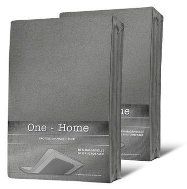 2er Pack Spannbettlaken FROTTEE 140x200 cm - 160x200 cm grau Spannbetttuch Set – Bild 1