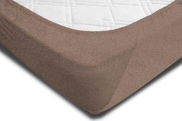 Spannbettlaken FROTTEE 180x200cm - 200x200cm taupe beige Spannbetttuch Bettlaken – Bild 2