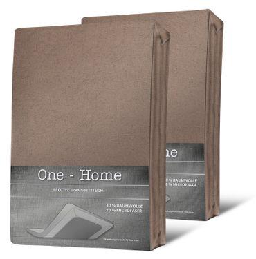 2er Pack Spannbettlaken FROTTEE 180x200cm - 200x200cm taupe beige Spannbetttuch – Bild 1