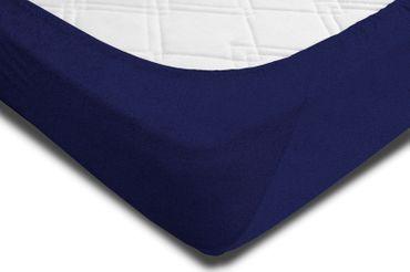 Spannbettlaken FROTTEE 180x200 cm - 200x200 cm navy blau Spannbetttuch Bettlaken – Bild 2