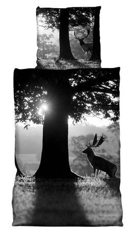 2 teilige Bettwäsche 135x200 cm Hirsch am Baum schwarz weiß grau Baumwolle Biber – Bild 1