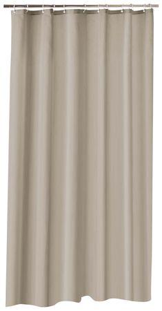 Duschvorhang 180x200 cm taupe beige wasserdicht Uni Badewannen Vorhang mit Ringe – Bild 1