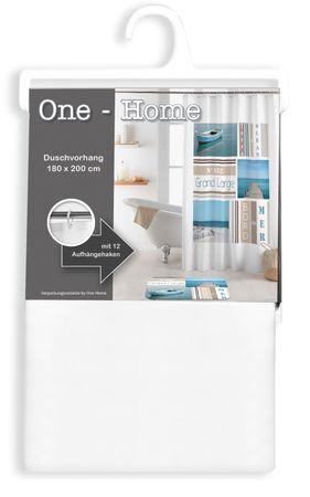 Duschvorhang 180x200 cm Strand Steg braun weiß Wasserabweisend Badewannenvorhang – Bild 3