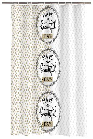 Duschvorhang 180x200 cm Beautiful weiß braun Wasserabweisend Badewannen Vorhang – Bild 1