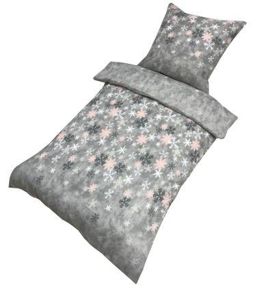 3 tlg Bettwäsche 200x200 cm Kristall Schneeflocken grau Doppelbett Thermofleece – Bild 2