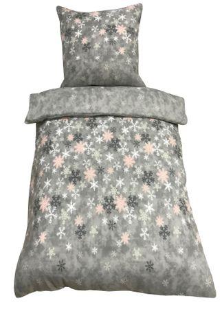 3 tlg Bettwäsche 200x200 cm Kristall Schneeflocken grau Doppelbett Thermofleece – Bild 1
