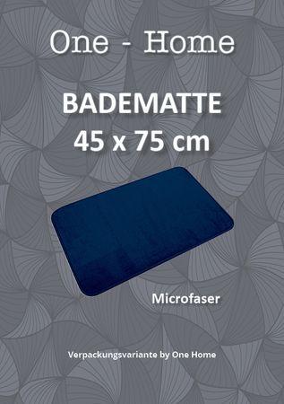 Badematte Badteppich 45x75 cm blau navy Uni Badvorleger Duschvorleger waschbar – Bild 3