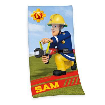 Feuerwehrmann Sam Badetuch Strandtuch Velourstuch 75 x 150 cm  Baumwolle Kinder – Bild 1