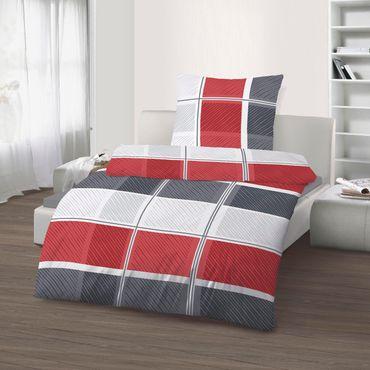 2 teilig Biber Bettwäsche 135 x 200 cm Kariert rot silber weiß Baumwolle B-Ware – Bild 1