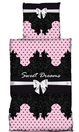 2 teilig Bettwäsche 135 x 200 cm Sweet Dreams Schleife schwarz rosa Mikrofaser – Bild 1