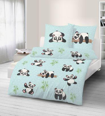 4 teilige Kinder Bettwäsche 135 x 200 cm Pandabär blau mint Baumwolle B-Ware – Bild 2
