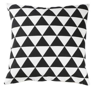 Kissenbezug Kissenhülle 40 x 40 cm Triangle schwarz weiß Baumwollmischgewebe – Bild 1