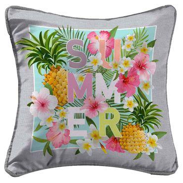 2er Pack Kissenbezug Kissenhülle 40x40cm Blumen Summer Time grau bunt Mikrofaser – Bild 1