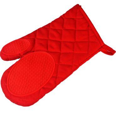 Ofenhandschuh Topfhandschuh Backhandschuh rot Baumwolle Silikon Mischung – Bild 1