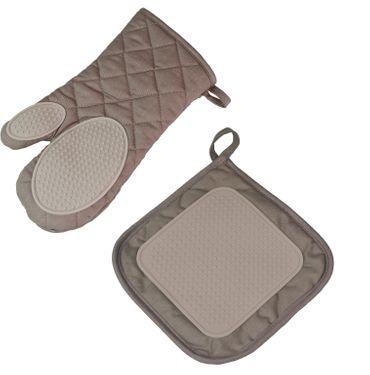 2er Pack Ofenhandschuh + Topflappen braun taupe Backhandschuh Baumwolle Silikon  – Bild 1