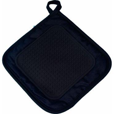2er Pack Ofenhandschuh + Topflappen schwarz Backhandschuh Baumwolle Silikon  – Bild 3