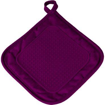 2er Pack Ofenhandschuh + Topflappen lila Backhandschuh Baumwolle Silikon  – Bild 3