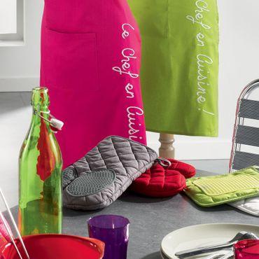 2er Pack Ofenhandschuh + Topflappen lila Backhandschuh Baumwolle Silikon  – Bild 4
