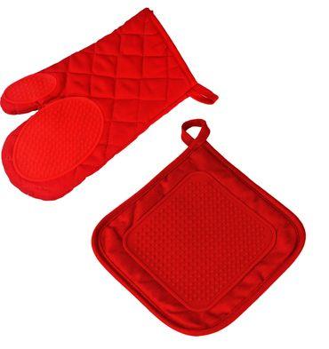 2er Pack Ofenhandschuh + Topflappen rot Backhandschuh Baumwolle Silikon  – Bild 1