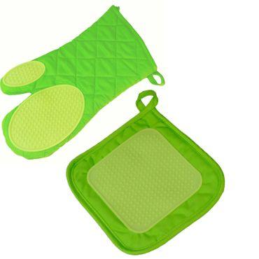 2er Pack Ofenhandschuh + Topflappen grün Backhandschuh Baumwolle Silikon  – Bild 1