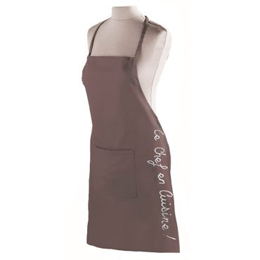 Kochschürze Schürze Latzschürze braun taupe Grillschürze 100% Baumwolle Tasche – Bild 1