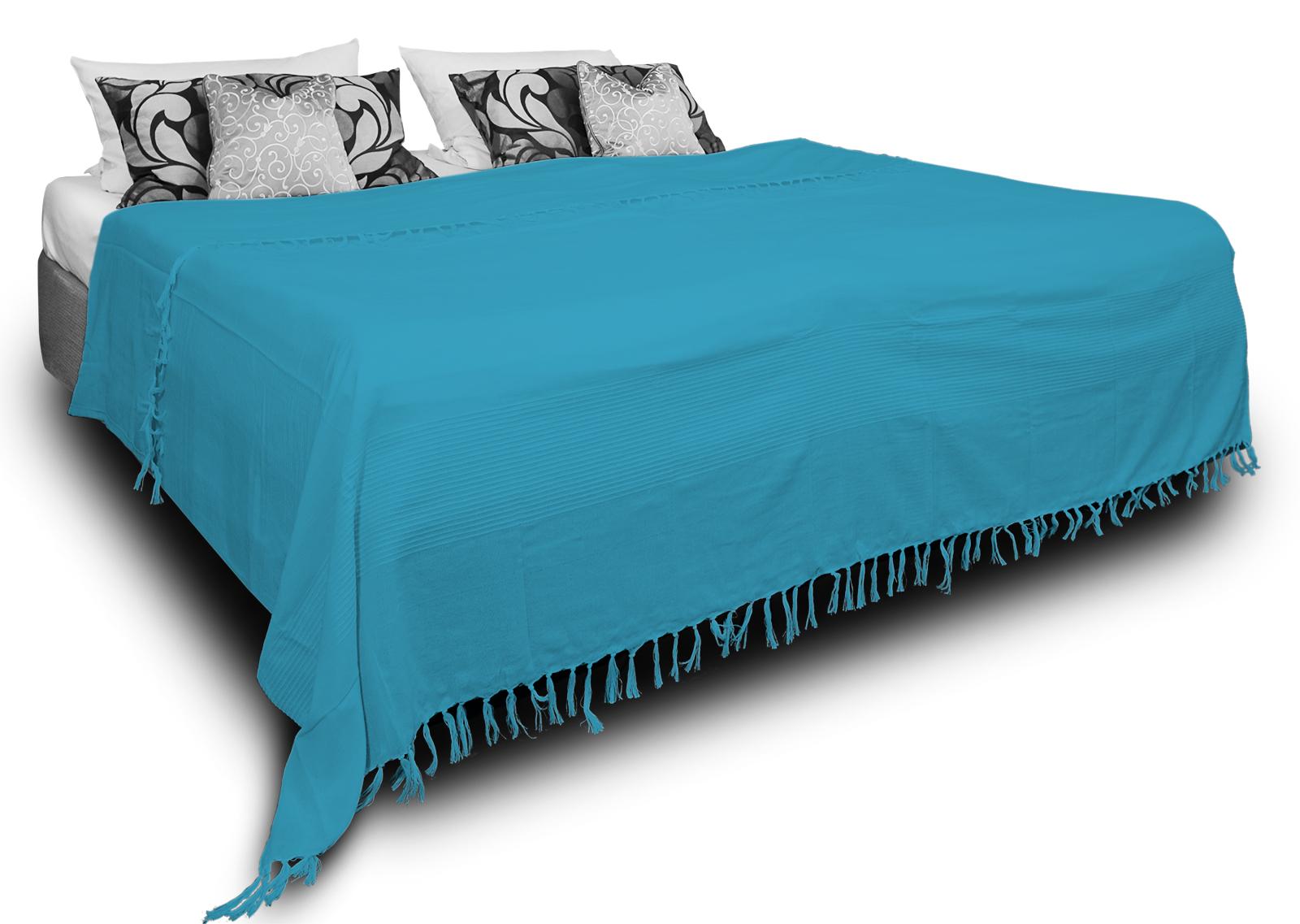 Tagesdecke Bettüberwurf 220x240 cm türkis Bettdecke Doppelbett Sofa Baumwolle